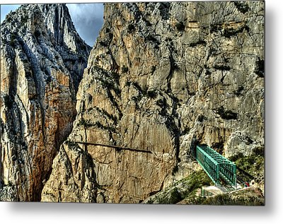 Metal Print featuring the photograph El Chorro View With Railway Construction by Julis Simo