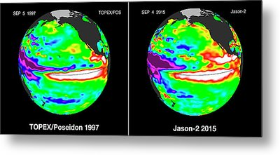 El Nino Comparison Metal Print by Nasa/jpl-caltech