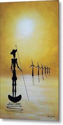 Don Quixote Fighting The Windmills Metal Print by Edwin Alverio