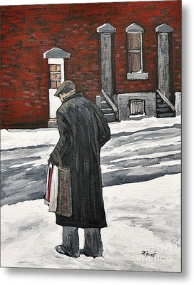 Elderly Gentleman  In Pointe St. Charles Metal Print by Reb Frost