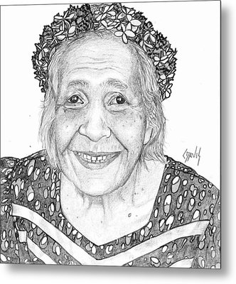Metal Print featuring the drawing Elderly Marshallese Woman by Lew Davis