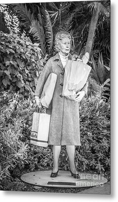 Elderly Shopper Statue Key West - Black And White Metal Print by Ian Monk