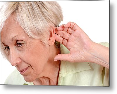Elderly Woman With Hearing Loss Metal Print