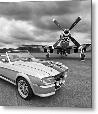 Eleanor Mustang With P51 Black And White Metal Print by Gill Billington