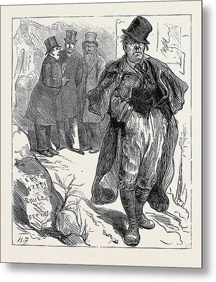 Election Sketches The Irish Vote 1880 Metal Print by English School
