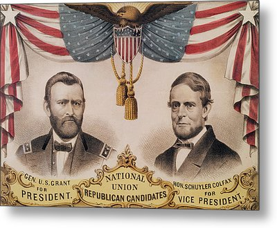 Electoral Poster For The Usa Presidential Election Of 1868 Metal Print by American School