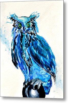 Electric Blue Owl Metal Print by Beverley Harper Tinsley