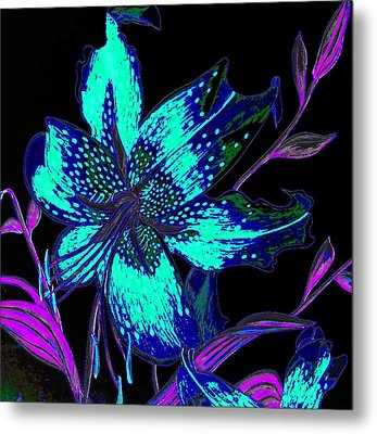 Electric Blue Stargazer Metal Print by Laura Wilson