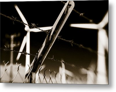 Electric Fence Duo Tone Metal Print by Scott Campbell