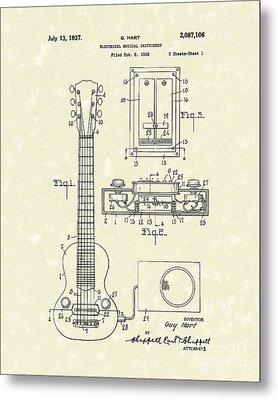 Electric Guitar 1937 Patent Art Metal Print by Prior Art Design