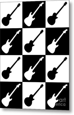 Electric Guitar Checkerboard Metal Print