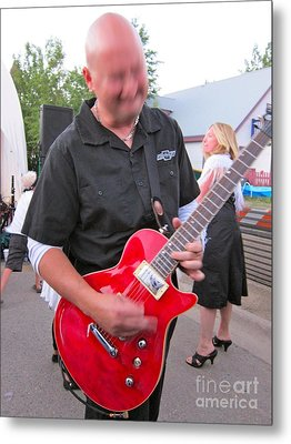 Electric Guitarist Plays It Metal Print