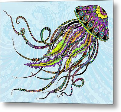 Metal Print featuring the drawing Electric Jellyfish by Tammy Wetzel