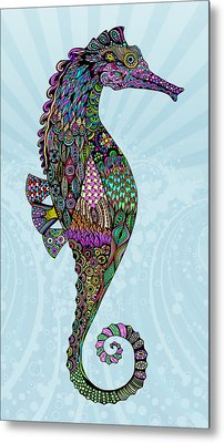 Metal Print featuring the drawing Electric Lady Seahorse  by Tammy Wetzel
