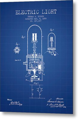 Electric Light Patent From 1880 - Blueprint Metal Print by Aged Pixel