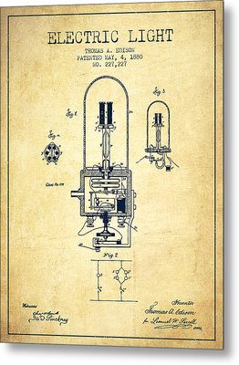 Electric Light Patent From 1880 - Vintage Metal Print