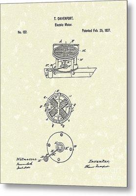 Electric Motor 1837 Patent Art Metal Print