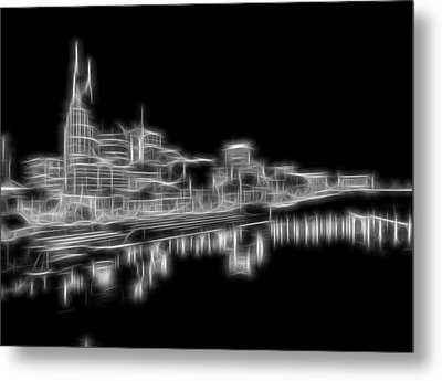 Electric Nashville Skyline At Night Metal Print by Dan Sproul