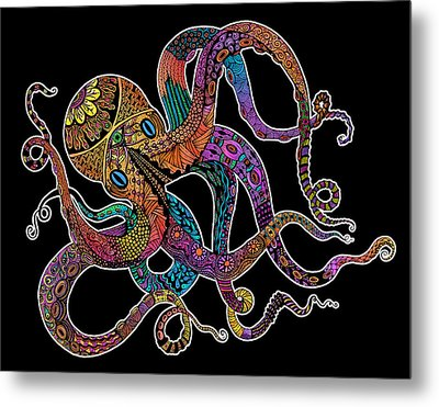 Electric Octopus On Black Metal Print