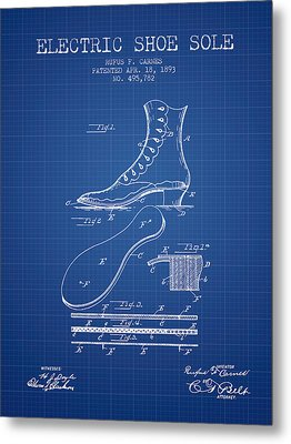 Electric Shoe Sole Patent From 1893 - Blueprint Metal Print