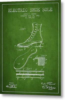 Electric Shoe Sole Patent From 1893 - Green Metal Print