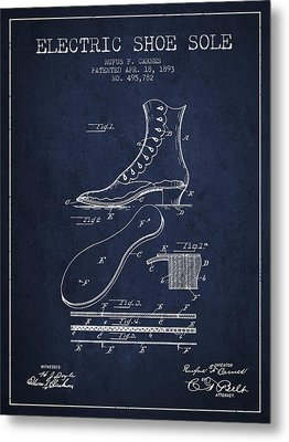 Electric Shoe Sole Patent From 1893 - Navy Blue Metal Print