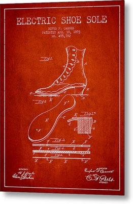 Electric Shoe Sole Patent From 1893 - Red Metal Print by Aged Pixel