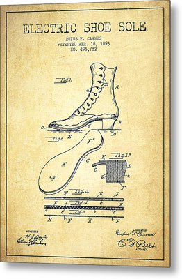 Electric Shoe Sole Patent From 1893 - Vintage Metal Print