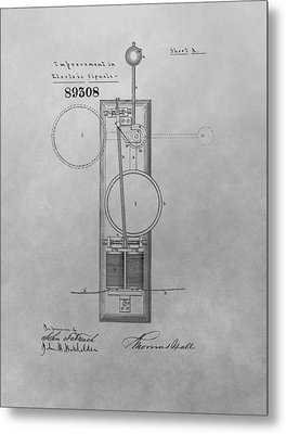 Electric Signal Patent Drawing Metal Print by Dan Sproul