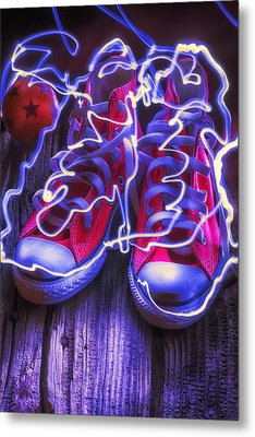 Electric Tennis Shoes  Metal Print by Garry Gay