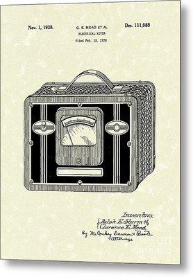 Electrical Meter 1938 Patent Art Metal Print by Prior Art Design
