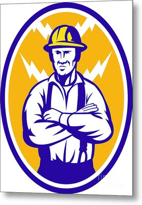 Electrician Construction Worker Lightning Bolt Metal Print by Aloysius Patrimonio