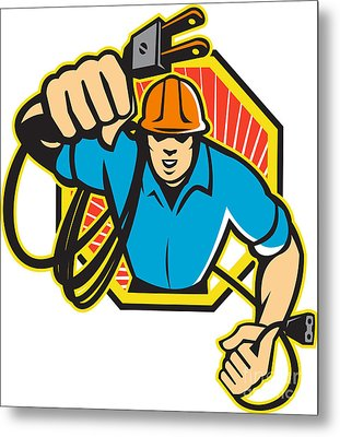 Electrician Construction Worker Retro Metal Print by Aloysius Patrimonio