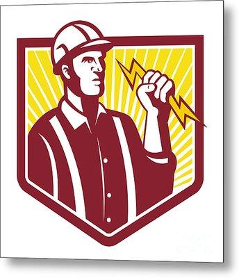 Electrician Holding Lightning Bolt Retro Metal Print by Aloysius Patrimonio