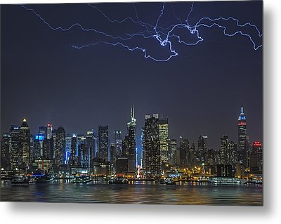 Electrifying New York City Metal Print by Susan Candelario