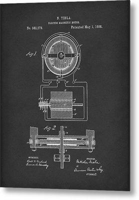 Electro Magnetic Motor Tesla 1888 Patent Art Black Metal Print