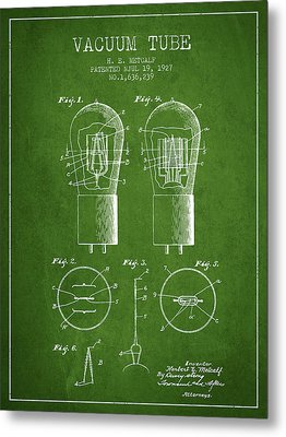 Electrode Vacuum Tube Patent From 1927 - Green Metal Print by Aged Pixel