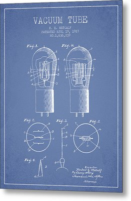 Electrode Vacuum Tube Patent From 1927 - Light Blue Metal Print by Aged Pixel