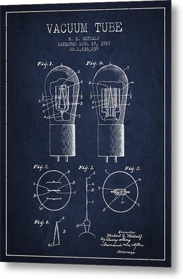 Electrode Vacuum Tube Patent From 1927 - Navy Blue Metal Print