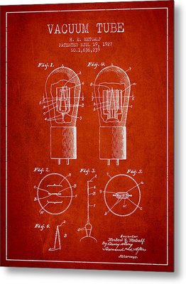 Electrode Vacuum Tube Patent From 1927 - Red Metal Print by Aged Pixel