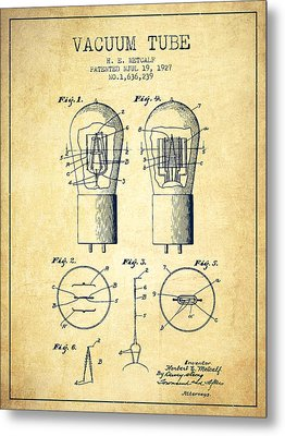 Electrode Vacuum Tube Patent From 1927 - Vintage Metal Print by Aged Pixel