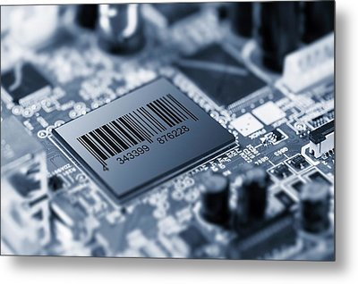 Electronic Chip Metal Print by Wladimir Bulgar