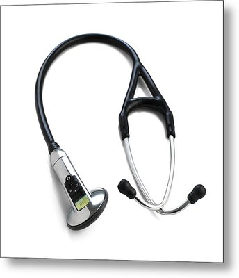 Electronic Stethoscope Metal Print by Science Photo Library