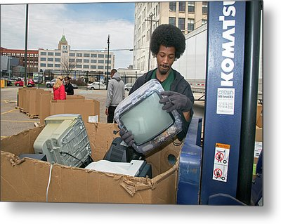 Electronic Waste Collection Metal Print