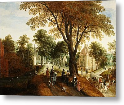 Elegant Horsemen And Figures On A Path In Front Of A Chateau Metal Print by Sebastian Vrancx