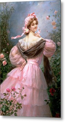 Elegant Woman In A Rose Garden Metal Print