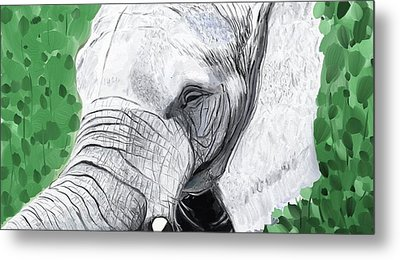 Metal Print featuring the painting Elephant 1 by Jeanne Fischer
