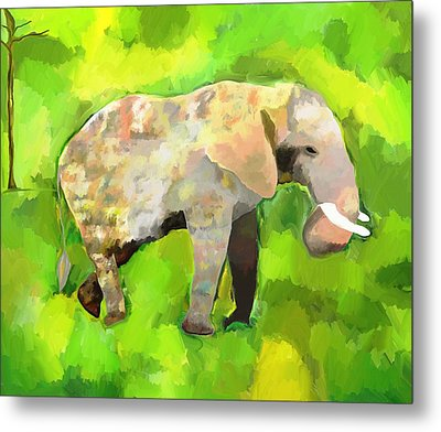 Metal Print featuring the painting Elephant 4 by Jeanne Fischer