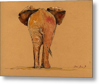 Elephant Back Metal Print by Juan  Bosco