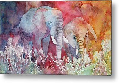 Elephant Duo Metal Print by Nancy Jolley
